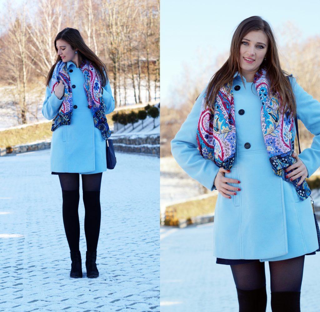 błękitny płaszcz stylizację