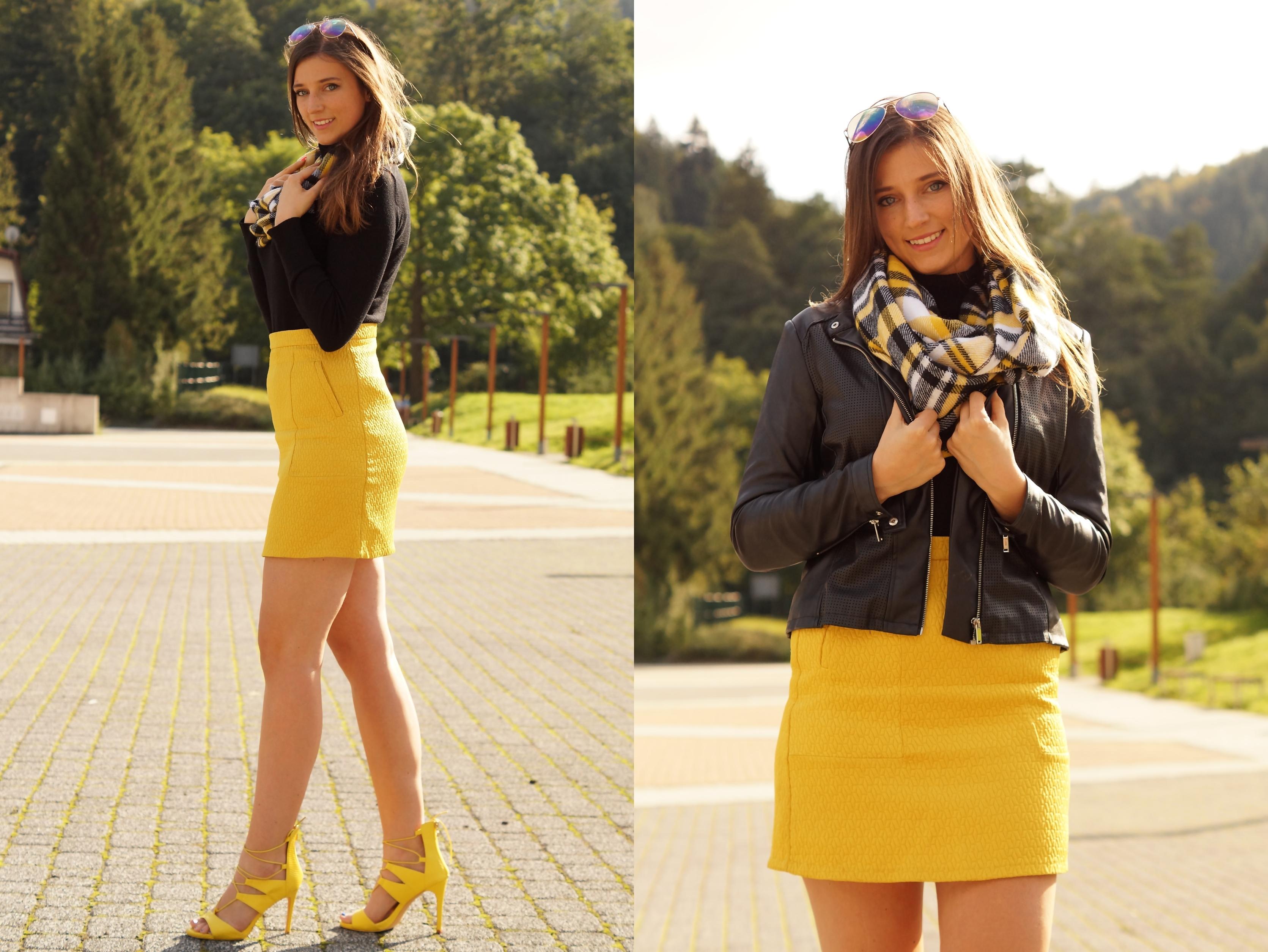 Żółta spódnica stylizacje