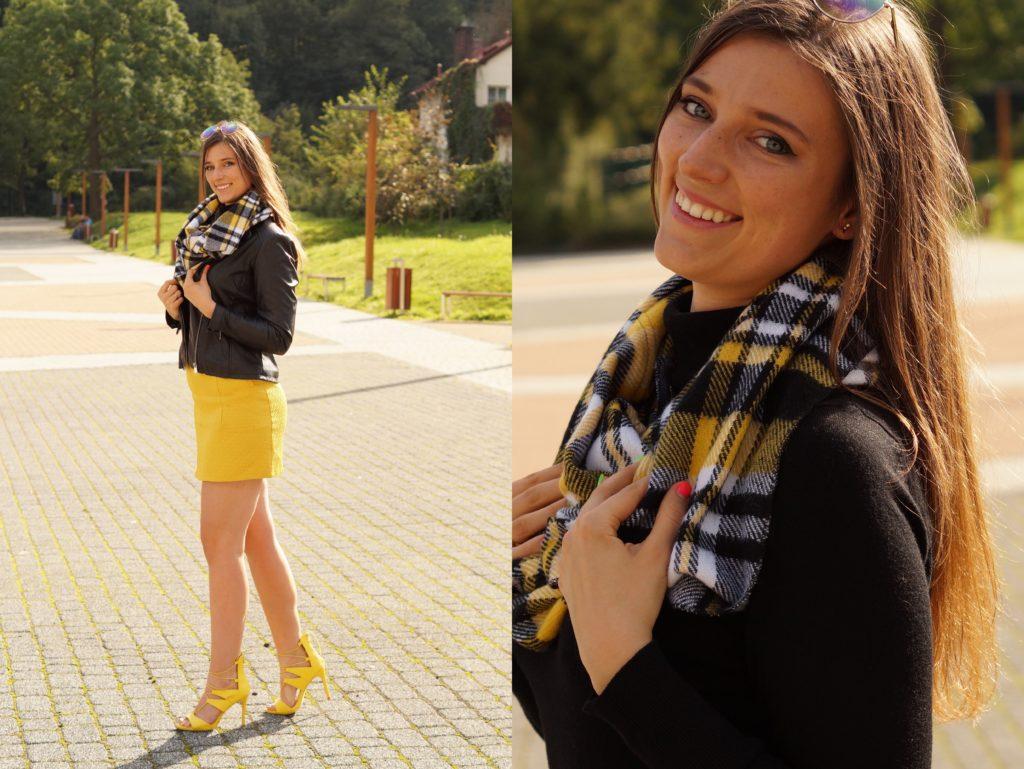 jesienne stylizacje żółta spódnica